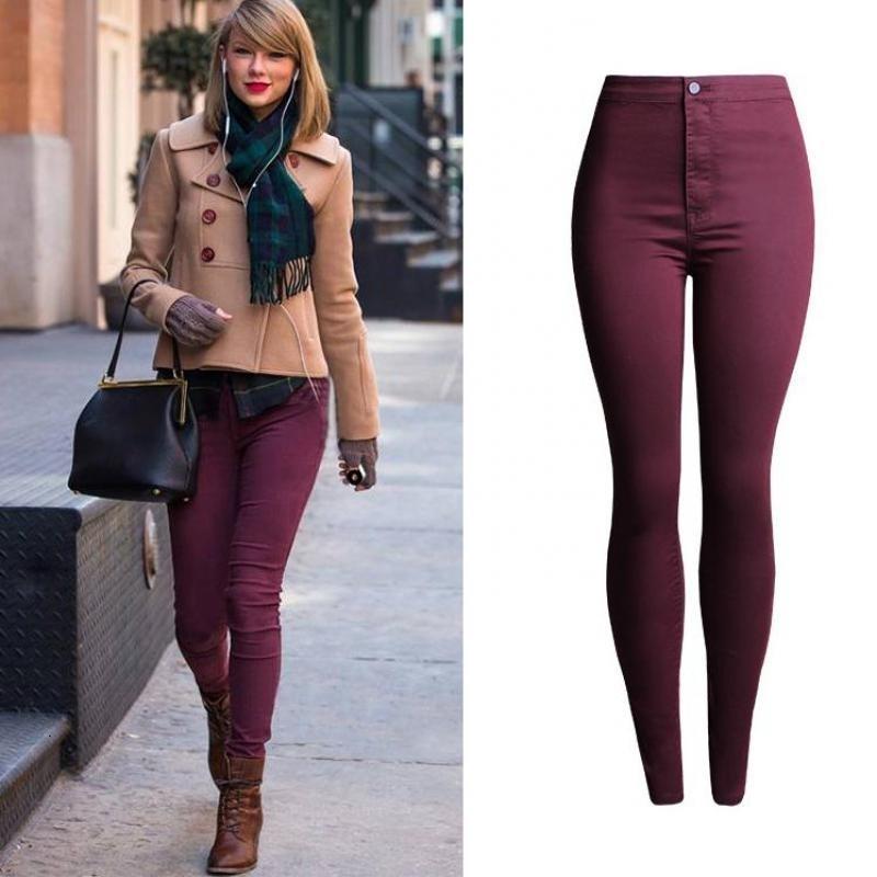 Mujeres Alta Cintura Jeans ajustados Push Up Hip Lápiz Levantamiento Skinny Super Stretch Denim Pantalones Corea Ropa Corea Enrollada Candy Jean Pantalón