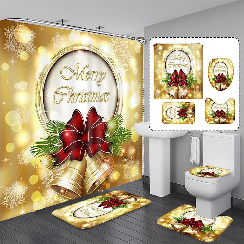 Joyeux Noël Rideau Rideau Salle de bains Ensemble de salle de bains Snowman Santa Père motif étanche Tapis de toilette Tapis antidérapant KKB7462