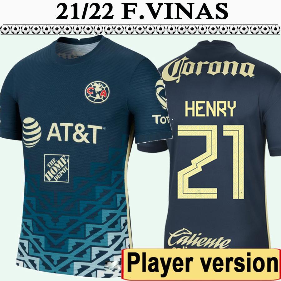 21 22 Mexico America Player Version G.Ochoa Mens Soccer Jerseys R. Martinez Henry Blue Football Shirt F.Madrigal Camisetas de futbol