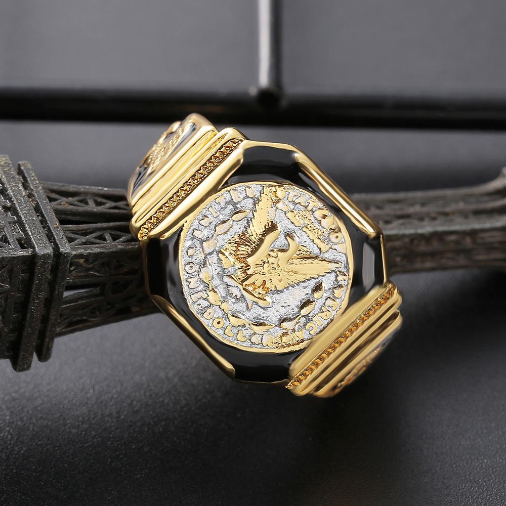 Europäische und amerikanische Mode High-End Zhenrong New American Silber King Ring American Eagle Dollar Überzogene Gelbgold Zweifarbige Herrenring