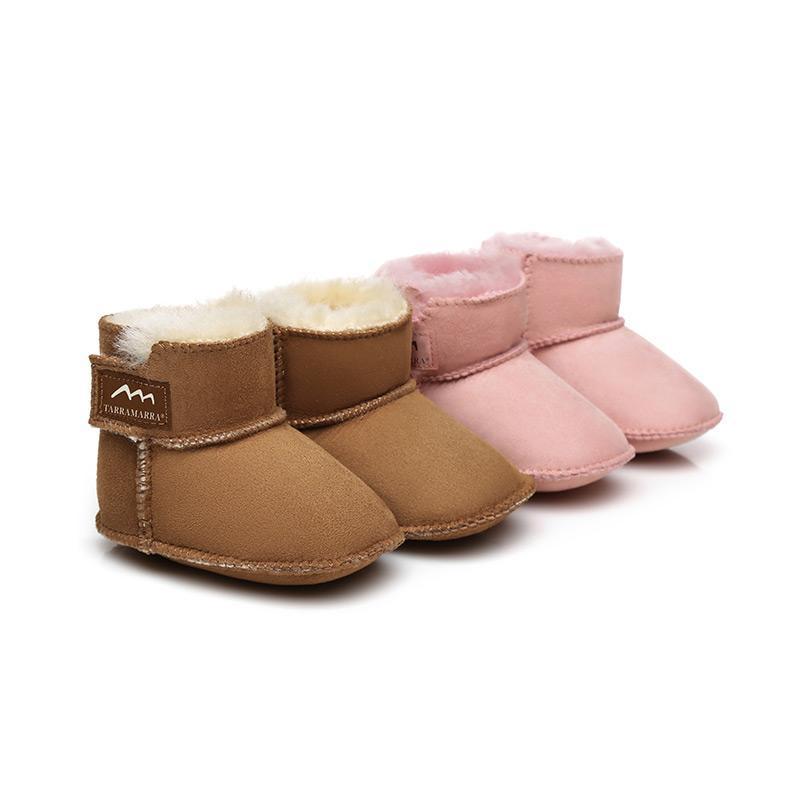 Botas Bebé Bebé Cálido 100% Sheepskin Muchacho Casual Zapatos Casuales Primeros andadores Lindo Lindo Suela Suela Suela Otoño Invierno