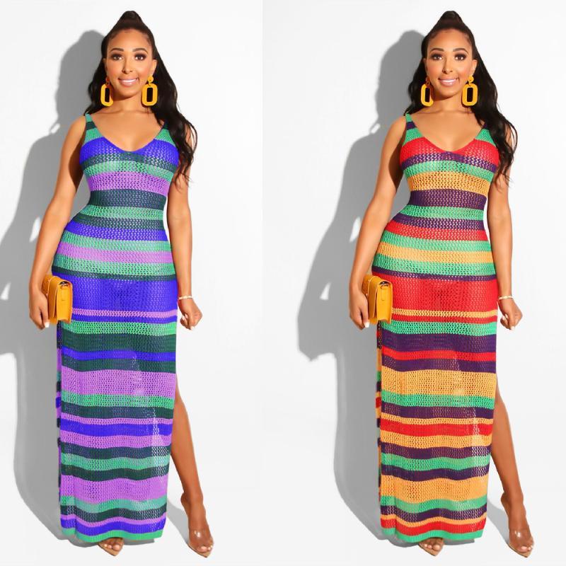 Sexy bikini cover-ups hechos a mano arco iris sin mangas lado bodycon verano vestido de crochet túnica mujer traje de baño cubierta A376 Mujeres para mujer