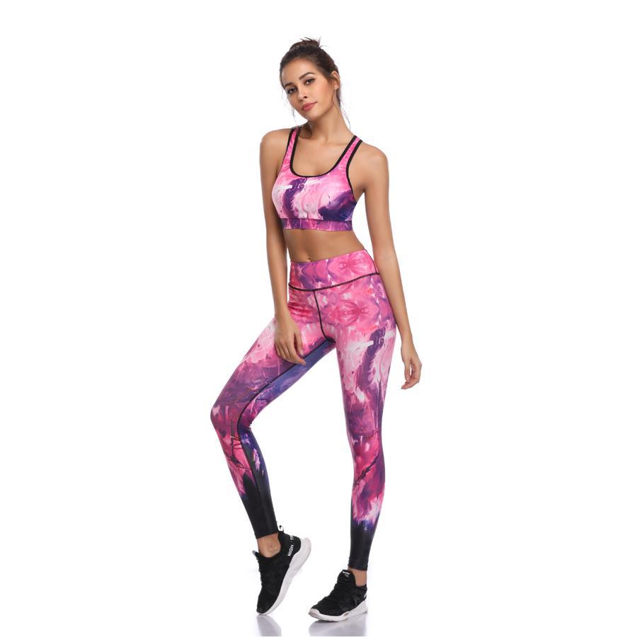 UP Li-FI Conjunto de fitness Mujeres Imprimir Push Puser Seco rápido Sotones Sitios de yoga Trajes de ejercicios Running Gym Wear Tight Slim Training