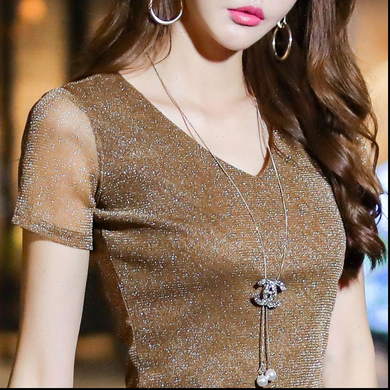 Kadın Bahar Bluzlar Yaz Tarzı V Boyun Dantel Gömlek Lady Rahat Kısa Kollu Blusas Tops DD8039