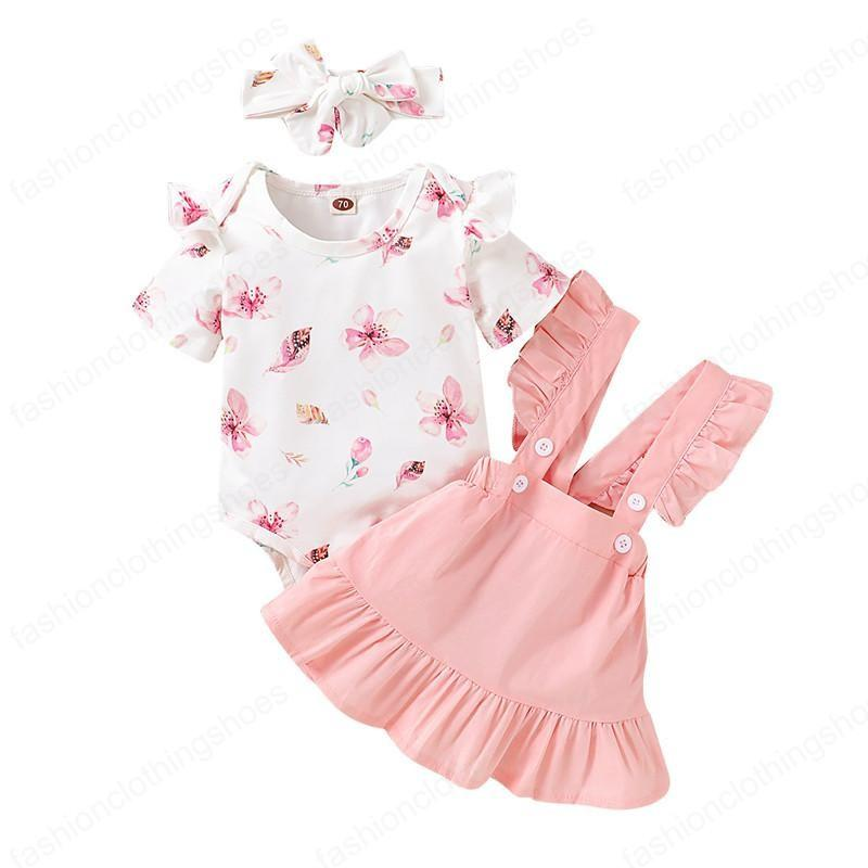 Summer Floral Print Baby Girls Clothes Set Romper Bodysuit+Ruffles Suspender Skirts Outfits 6 9 12 18 Months