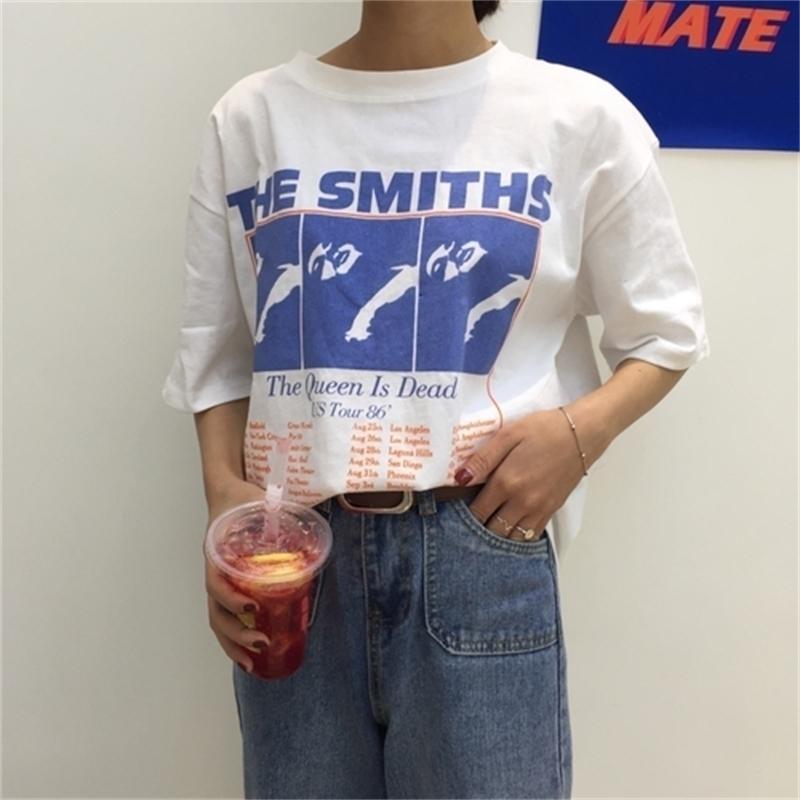 Vintage lettre imprimée causale blanc coton blanc assorti lâche nouvelle mode basique manches courtes femelles t-shirts 210406