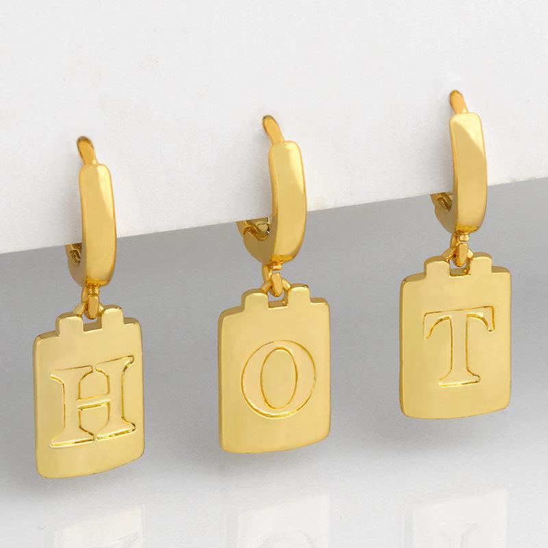디자이너 귀걸이 크리 에이 티브 기질 간단한 사각형 부드러운 26 편지 귀걸이 ER25