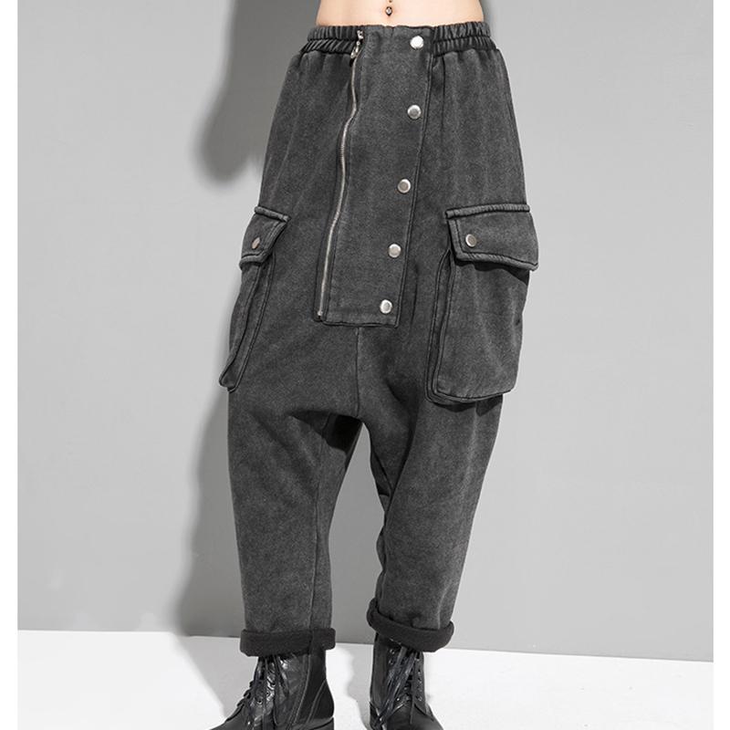 Gelgit Marka Erkekler ve Kadınlar Kot 2021 Sonbahar Kış Giymek Elastik Bel Geniş Bacak Pantolon Sokak Kişiliği Başsağlığı Kadınlar