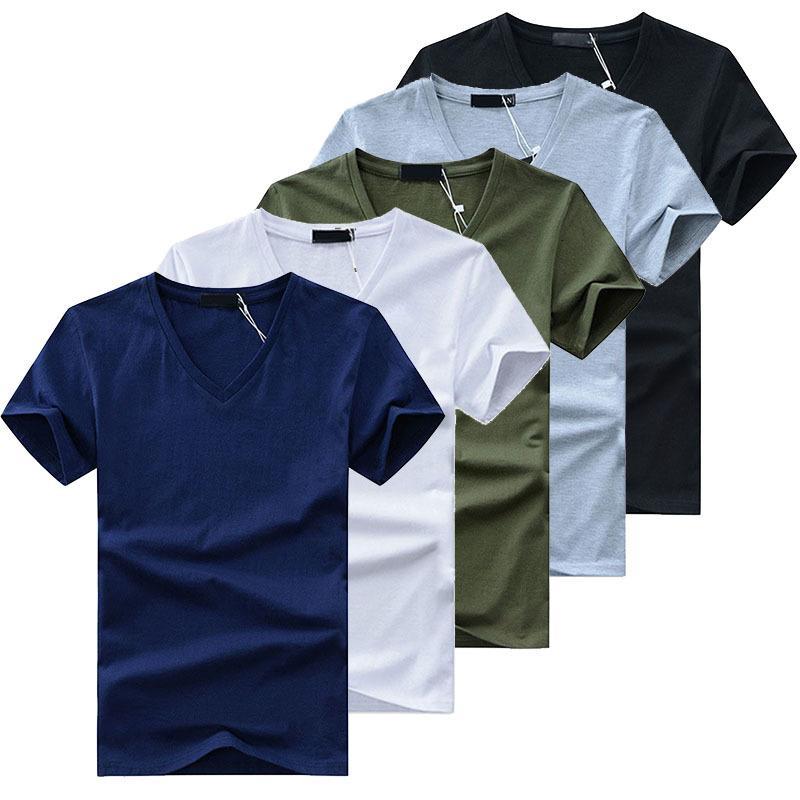5 adet / grup Yüksek Kalite Moda erkek T-Shirt V Boyun Kısa Kollu T Katı Rahat Erkekler Pamuk Tee Gömlek Yaz Giyim Tops