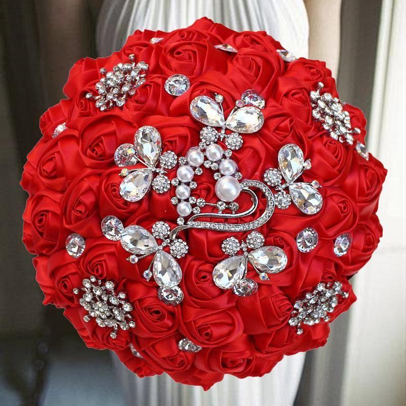 1 шт. / Лот Темно-красная лента свадьба свадьба букет цветов с бриллиантами для украшения декоративные цветы венки