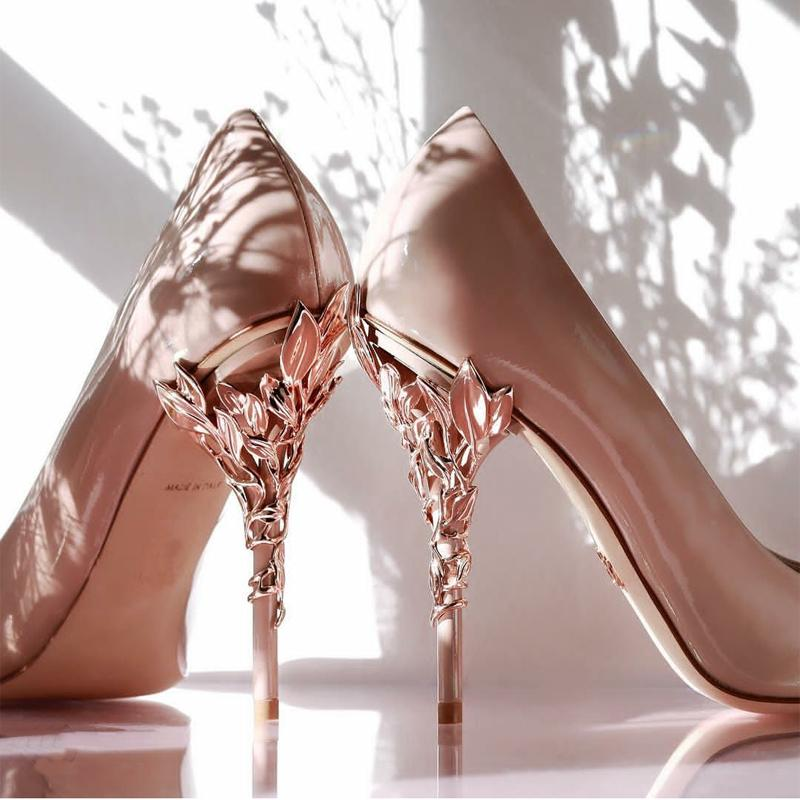 2021 pink blue bridal wedding shoes Pointed eden pumps Women high heels 9 cm with leaves for evening Cocktail prom party Black