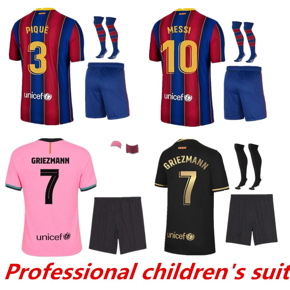Barcelona Kit Kit Fútbol Jersey Barca 20 21 22 Messi Griezmann Camiseta Futbol Ansu Fati 202 Fde Jong Manga larga Maillots de Fútbol Conjuntos Jerseys