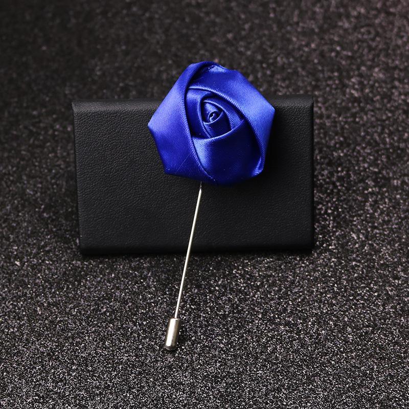 33 Cores Tecido de Luxo Rose Flor Lapela Pin Mens Uniforme Casaco Roupa Crachá Broaches para Mulheres Partido de Casamento Moda Jóias 175 O2