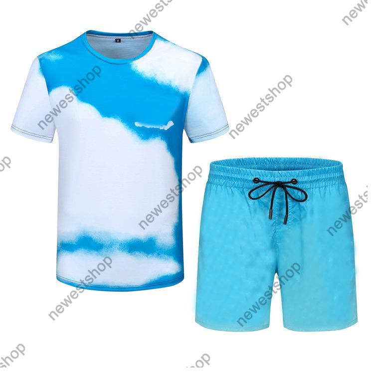 2021 Summer Men Designer Tritsuits Sets Mens Fashion Blue Sky Print Traje Trajes de carrera Camiseta de manga corta Sportswear Camisa M-3XL