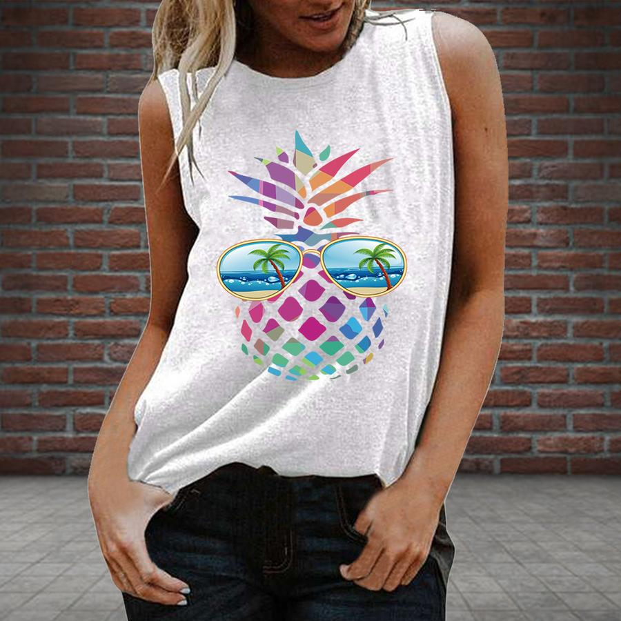 Women's Buy New Colorful Pineapple Design Fresh and Sweet Pullover Sleeveless Vest Q17J