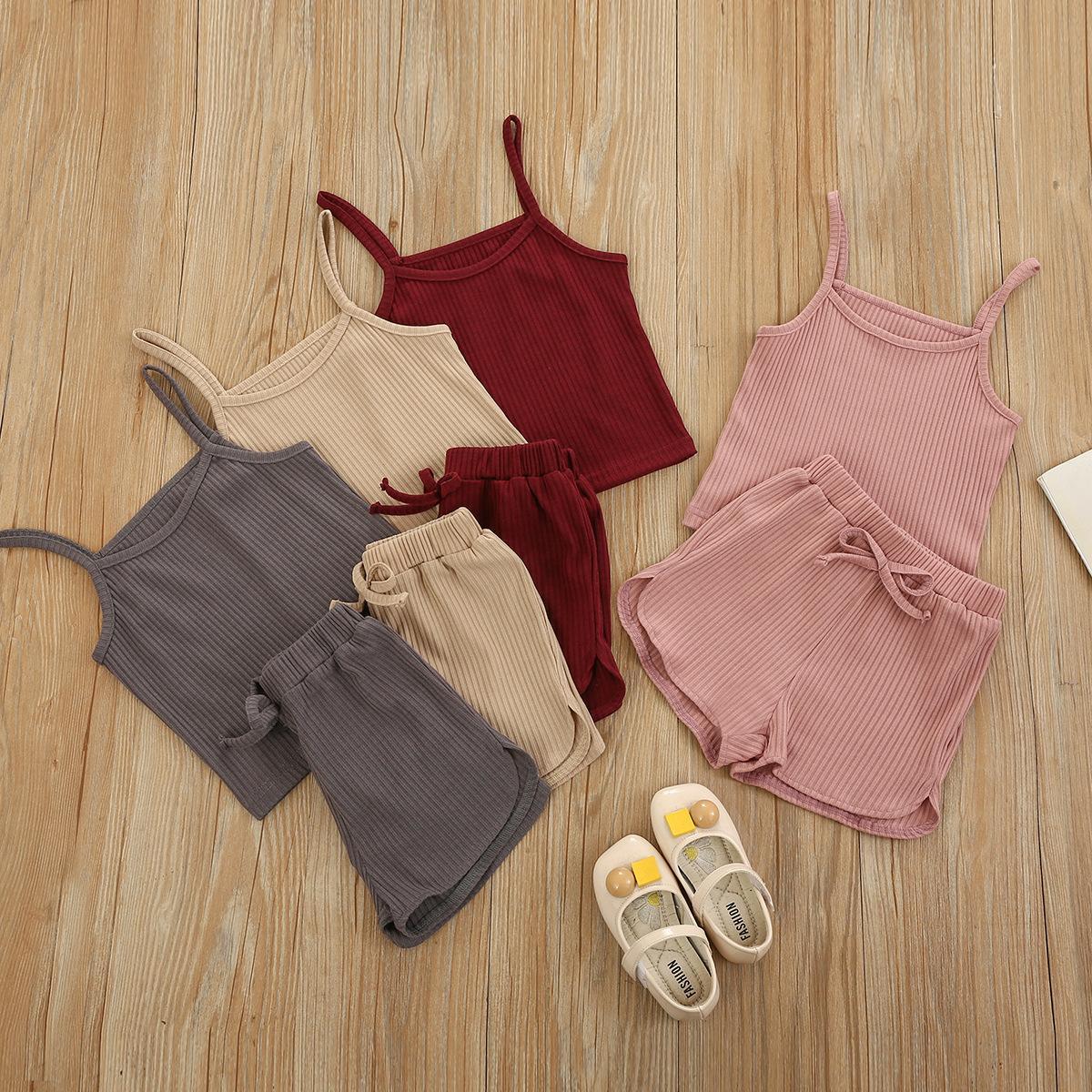 Çocuk Tasarımcısı Giyim Kız Kaşkorse Giyim Setleri Katı Parantez Külot Şort Bebek Çizgili Pamuk Tank Üst PP Pants Suits Spor Suit 5 Renkler WMQ1269 Suits