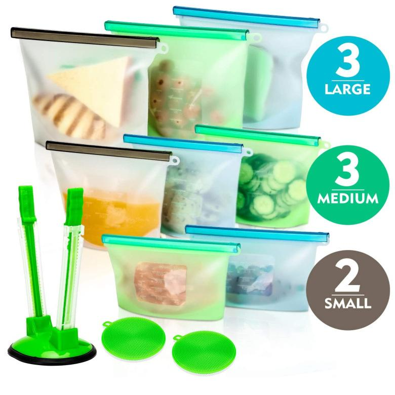 Kitchen Food Storage Bags Reusable Silicone Bag BPA Free Foods Preservation-Bags Seal Freeze Fridge Snack Organizer Savers pouch