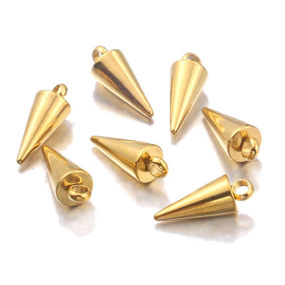 10 stücke Gold Edelstahl Rundkegel Charme Für DIY Ohrring Schmuckherstellung Halskette Anhänger Befindet sich Handgemachte Zubehör A0603