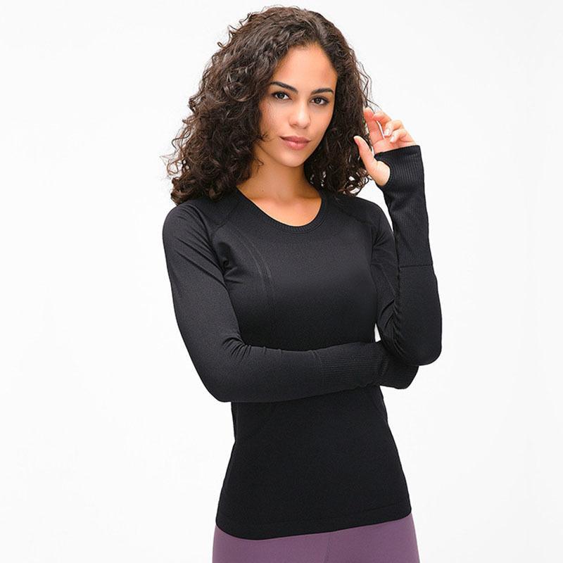 Эластичный тренажерный зал йоги рубашки Lu-97 с длинным рукавом женщин тонкий сетка бегущая спортивная куртка быстрые сухие черные фитнес кофты топы