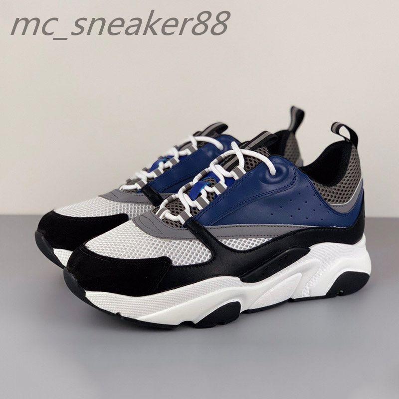 Männer Lace-up B22 Sneaker Schuhe Weißes Leder Calfskin Sneakers Top Technische Strickung Frauen Plattform Blaue graue Lauftrainer
