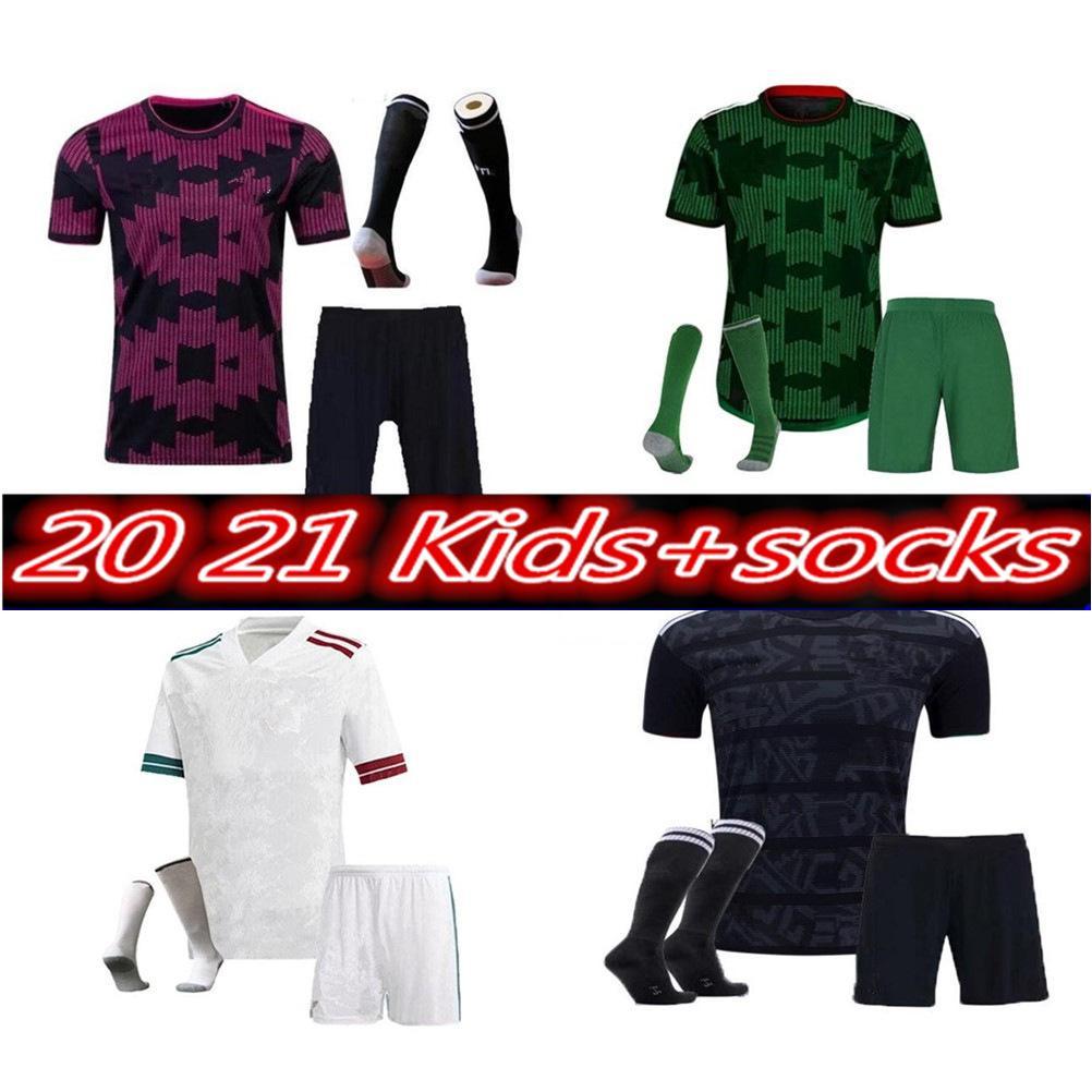 2021 멕시코 축구 유니폼 홈 20 21 chicharito lozano dos Santos 축구 셔츠 성인 키트 키트 세트 유니폼