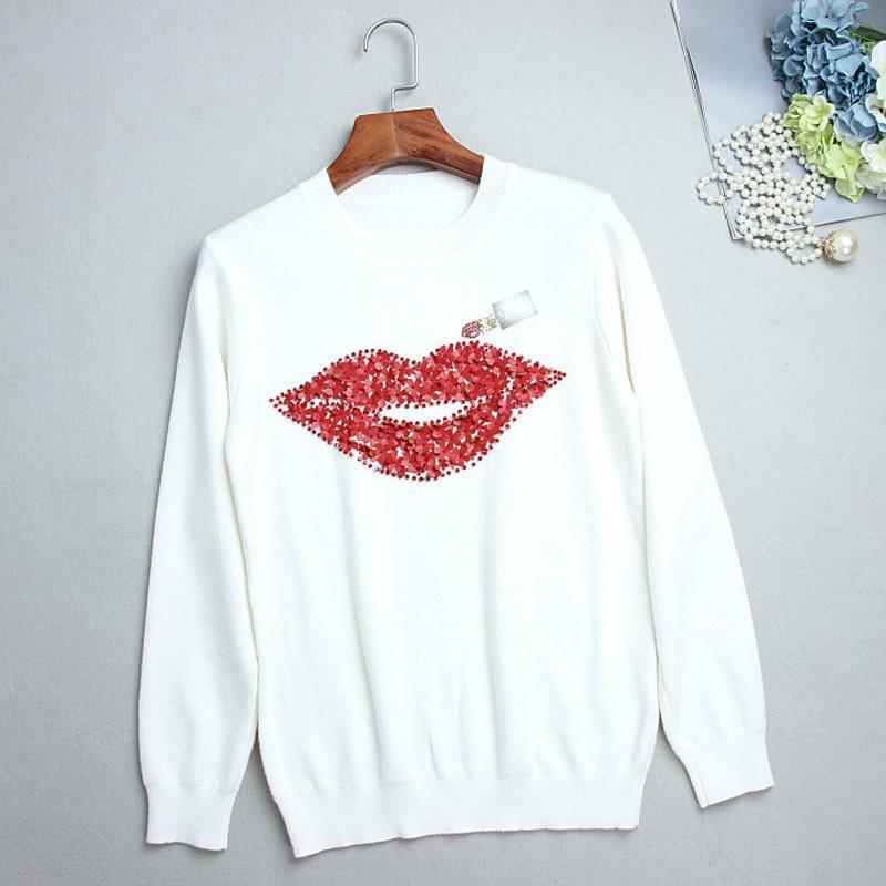 Femmes Pulls et pulls d'automne Hiver 3D Lèvre rouge Lèvres Rouge à lèvres Diamant Motif O-Cou Top Sweater Top 210420
