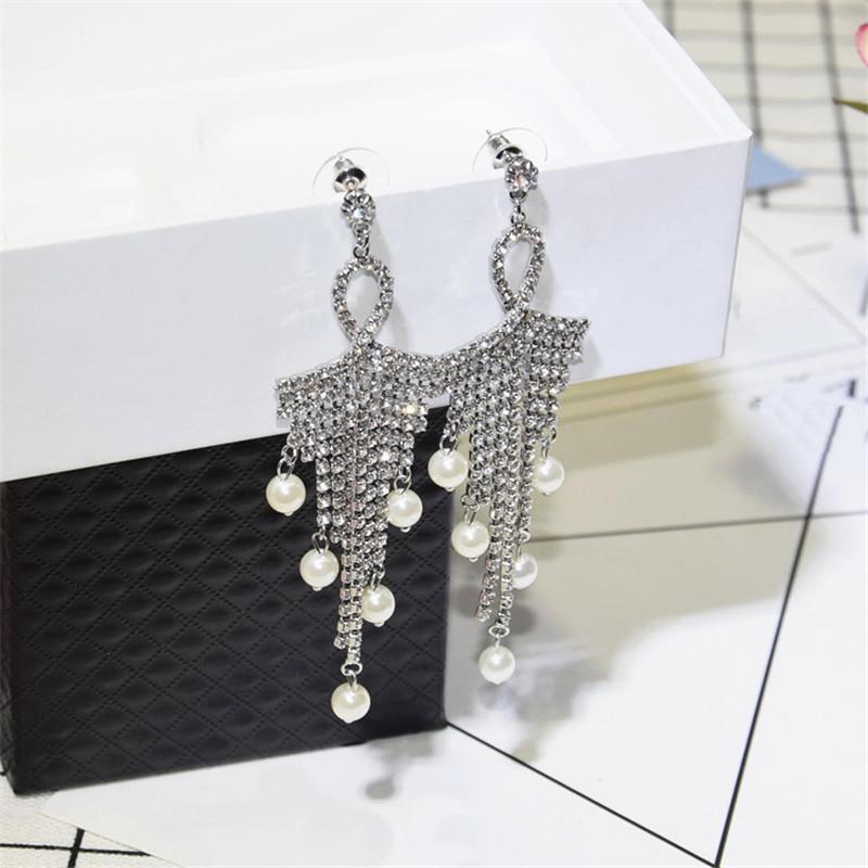 Luxus Voller Rhinestone Perlen Lange Quaste Ohrringe Hochzeitsfeier Frauen Mode-Aussage Elegante Drop Schmuck Baumeln Kronleuchter