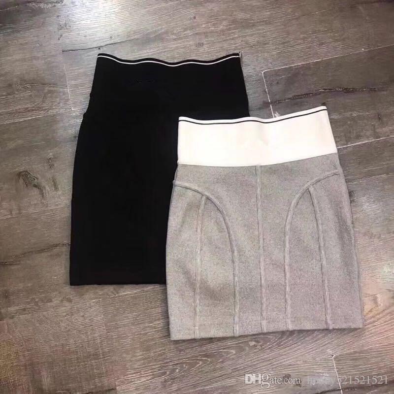 2021 Новый дизайн мода женская логотип письмо печати боковая молния лоскутное bodycon туника повязка нить вязаный короткий карандашный юбка SML