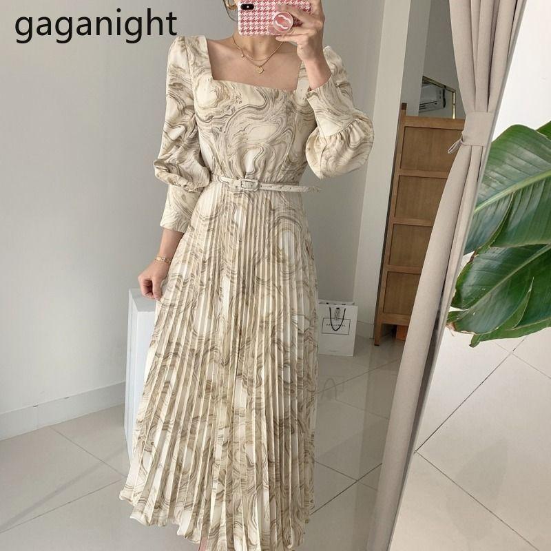 Gaganight Fashion женщины плиссированные макси партии платье с длинным рукавом квадратный воротник корейские коренные платья девушки вечеринка Vestidos Dropshipping