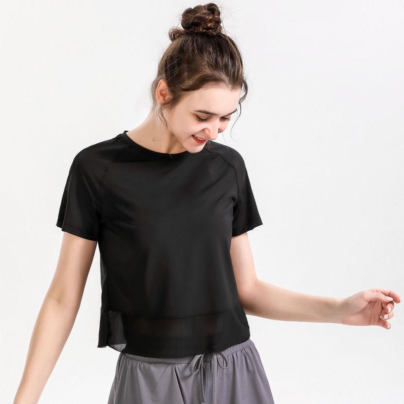 2021 LU YOGA TOPS Mujeres sueltas velocidad de carreras Seco Sportswear Corta Casual Camiseta Camiseta Entrenamiento Malla Fitness Use Ropa de verano