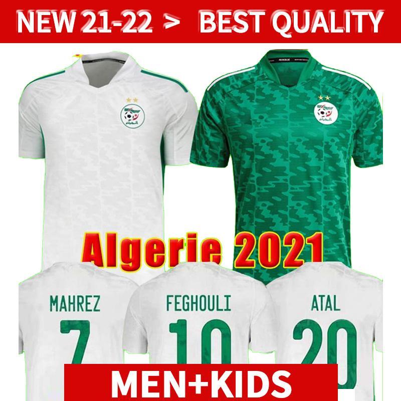 Vista fãs Versão Algerie 2021 Home Away Jerseys de futebol 21 22 Mahrez Feghouli Bennacer Atal 20 21 Argélia Kits de Futebol Camisa Men + Kids Conjuntos Maillot de Pé