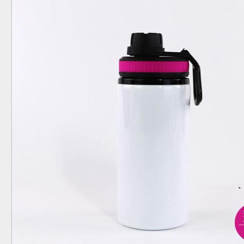 600 ملليلتر التسامي الألومنيوم الفراغات زجاجات المياه مقاومة للحرارة غلاية الرياضة الكؤوس غطاء أبيض مع مقبض البحر الشحن NHA5160
