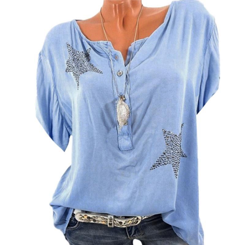 Blusen Hemden Sommerknopf Fünf-Spitz-Stern-Bohrtops Frauen Casual Blusas Mujer Plus Größe Frauen Bluse Frauen 2021
