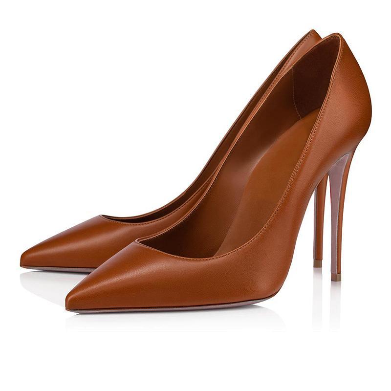 높은 뒤꿈치 그래서 케이트 디자이너 드레스 신발 스타일 레드 바닥 Womens Stiletto heels 8 10 12cm 정품 가죽 포인트 발가락 펌프 로페