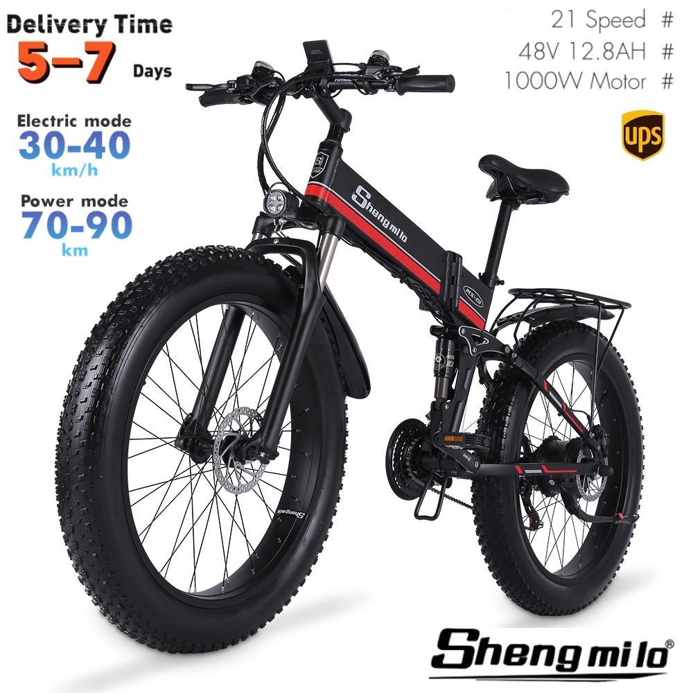 EU MX01 Shengmilo 26 cm Folding elektrische 1000W Mountainbike 40km / h City Fettreifen Fahrrad E-Bike