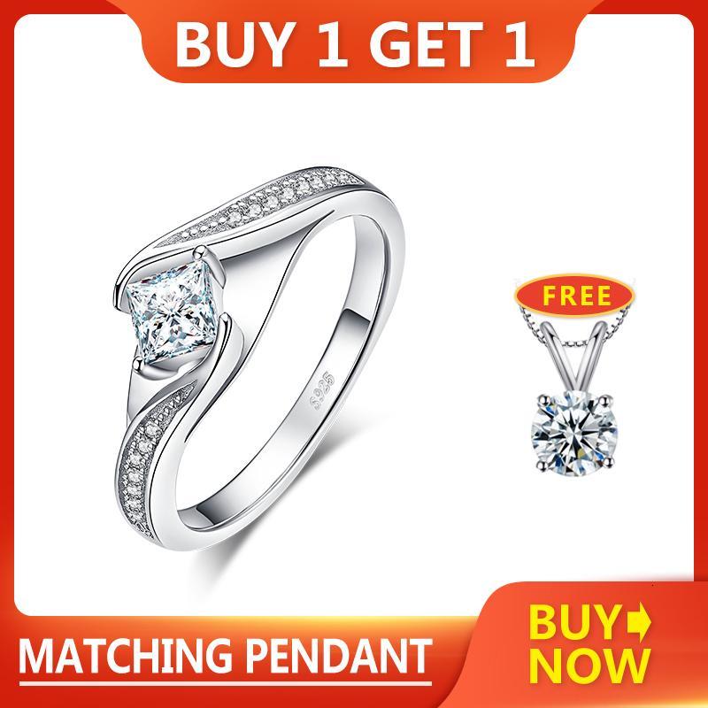 JewelryPalace Princess Cut Обращение стерлингов для женщин Обещание Кольцо Обручальные кольца Серебро 925 Ювелирные Изделия