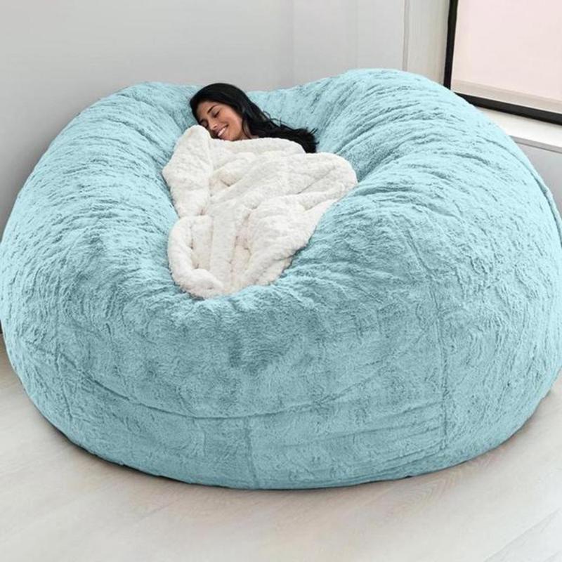 Cubiertas de silla D72x35in Cubierta de bolso de frijol de pelo gigante grande Redondo suave suave Faux Beanbag Lazy Sofá cama Cama Sala de estar Muebles Caída