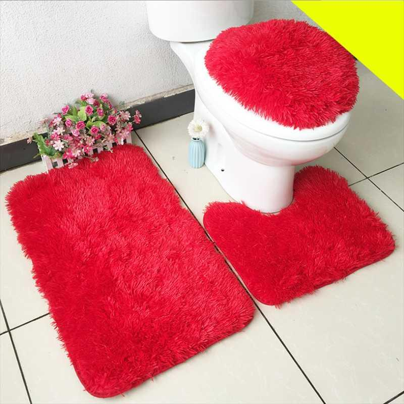 Household Long-haired Carpet Bathroom Toilet Three-piece Floor Mats Water Absorbent Non-slip Seat Cover Decor Bath