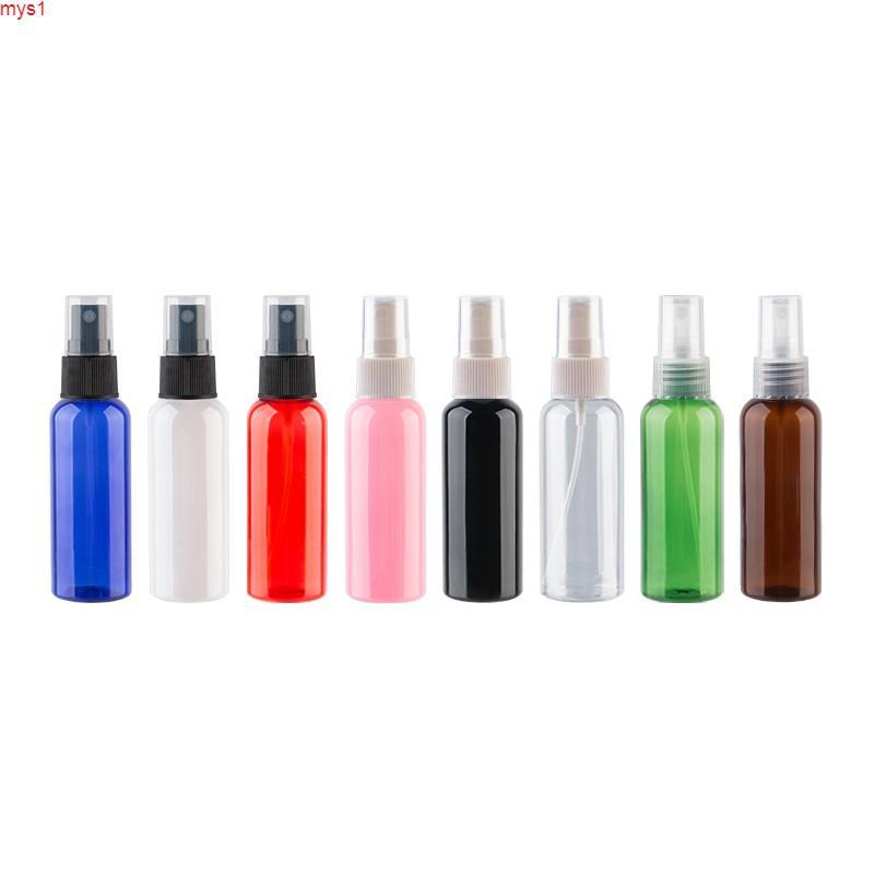 Botella de plástico de pulverización de perfume de 50 ml x 50, viaje por aerosol con bomba de niebla, recipiente cosmético vacío Pulverizador de alta calidad