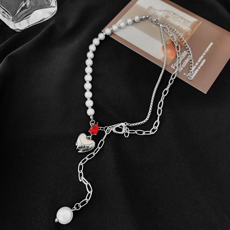 Punk Heart Pendant Choker per le donne Fashion Red Crystal Pearl Tassel Splice Collarbone Catena Partito Gioielli Cool Ragazza Accessori Accessori Giro