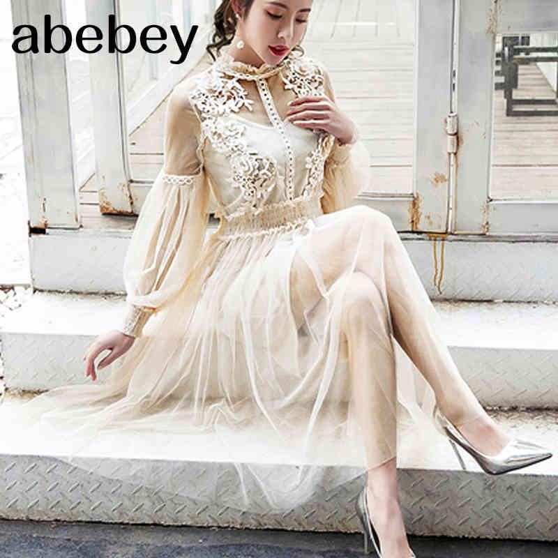 2021 Neue Frauen Mode Kleid Stehkragen Laterne Hülse Mesh Kleid Durchsichten Spitze Stickerei Fairy Kleid Femme Vestidos Robe 210414