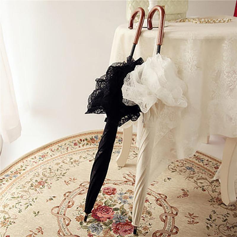 Retro feminino longo punho guarda-chuva branco kawaii coreano rendas uv protetor de uv novidade itens parasol casamento 104 guarda-chuvas