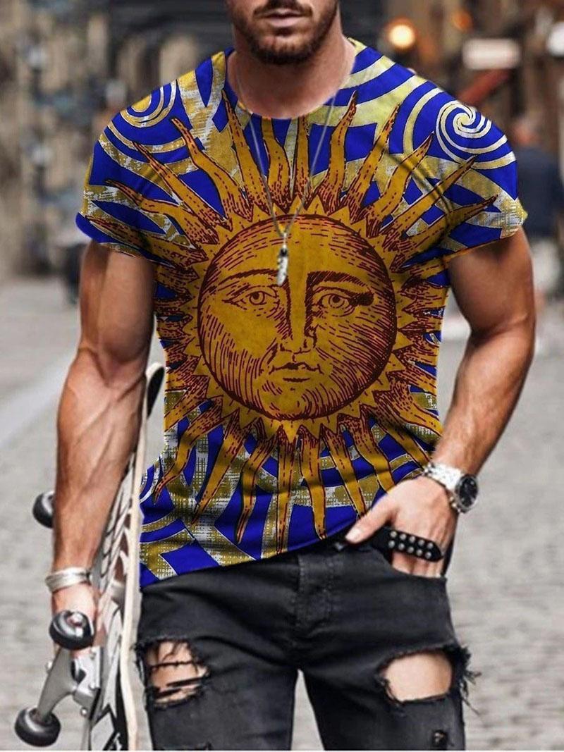 Plus Size Uomo T-shirt manica corta 3D stampato tondo collo tondo top tee blusa estate casual vintage streetwear 2021