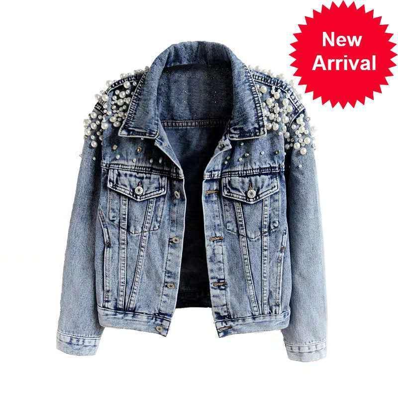 New Autumn Women's Jean Giacche perla Casual Jacket Jacket Denim 2021 Donne Cappotto Capispalla manica lunga manica lunga