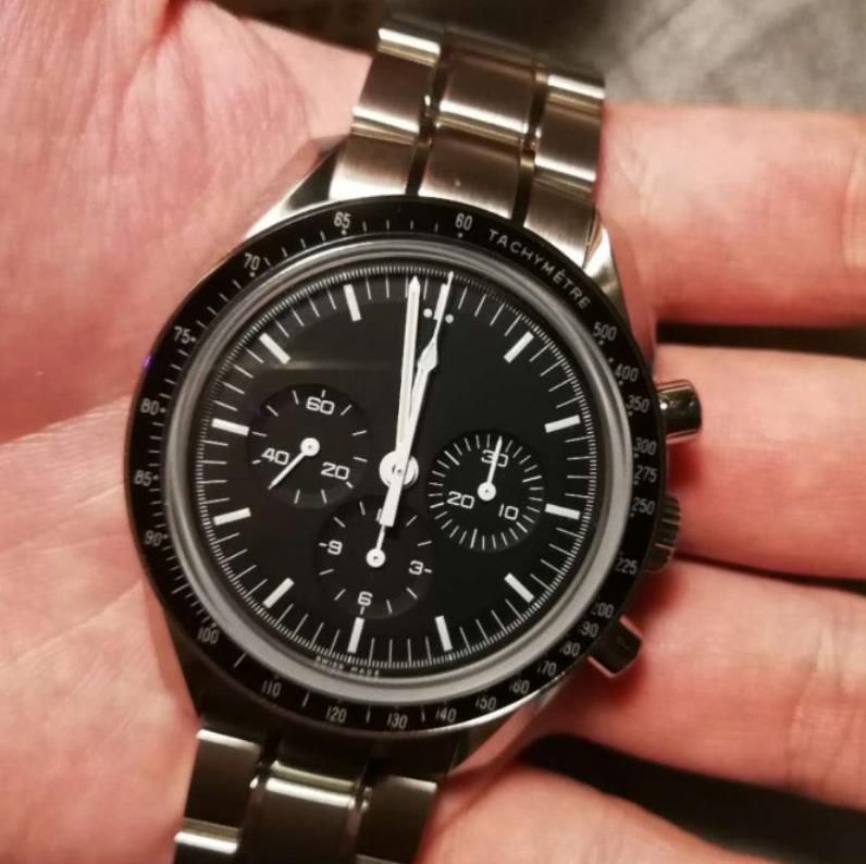 42mm 자동 검은 얼굴 전체 스테인레스 스틸 남자 달 손목 시계 전문 속도 남성 시계
