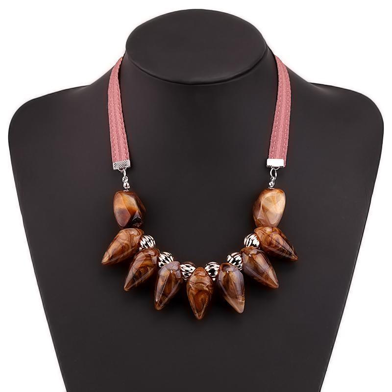 Accessori per gioielli 6 colori Catena di tessuto Resina Ciondoli geometrici Ciondoli Girocollo Collana da donna per gite da regalo vacanze