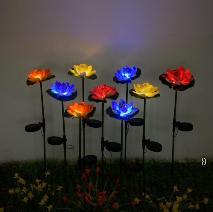 Lotus Цветочный Свет светодиодный Водонепроницаемый Солнечный Пруд Садовые Украшения Многоцветные Изменения Ландшафт Декоративные Открытый Газон Лампы Sea OWC7578
