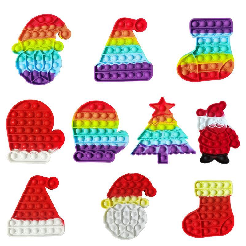 Fidget Toys Sensory Christmas Series Rainbow Puser Burbuja Anti estrés Educativo Niños y adultos Discompression Toy Toy Regalo Sorpresa al Por Mayor en stock