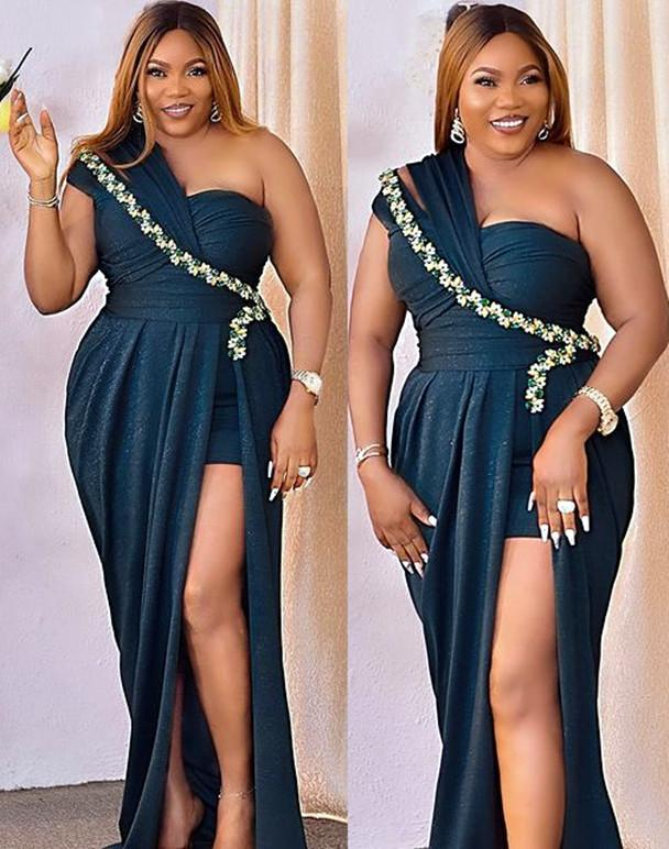 2021 Plus Size Arabic Aso Ebi One Shoulder Sexy Prom Dresses Crystals High Split Sheath Evening Formal Party Second Reception Bridesmaid Gowns Dress ZJ321
