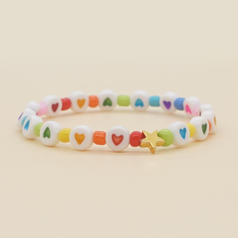 Abalorios, hilos 2021 corazon Pulsera con cuentas encantos de estrella de corazones multicolores Beads Strand pulseras para mujeres de moda joyería regalo